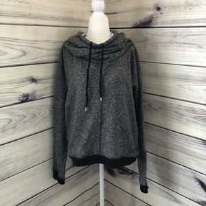 BCBG Cowl Neck Hooded Sweatshirt Sweater XL